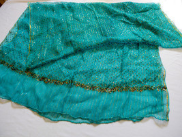 SHAWL WRAP SCARF PASHMINA BLUE TURQUOISE SPARCKLE STRIPE METALLIC COLOR - $34.65