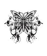 Butterfly with Grunge Flourish-Digital clipart-... - $3.00
