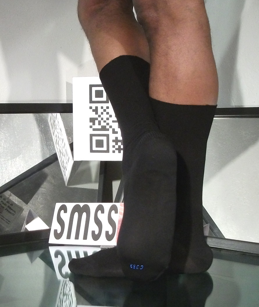 Used Mens Sheer Socks 1 x 1 Ribbed Glossy Nylon, 10-13, OTC - C333