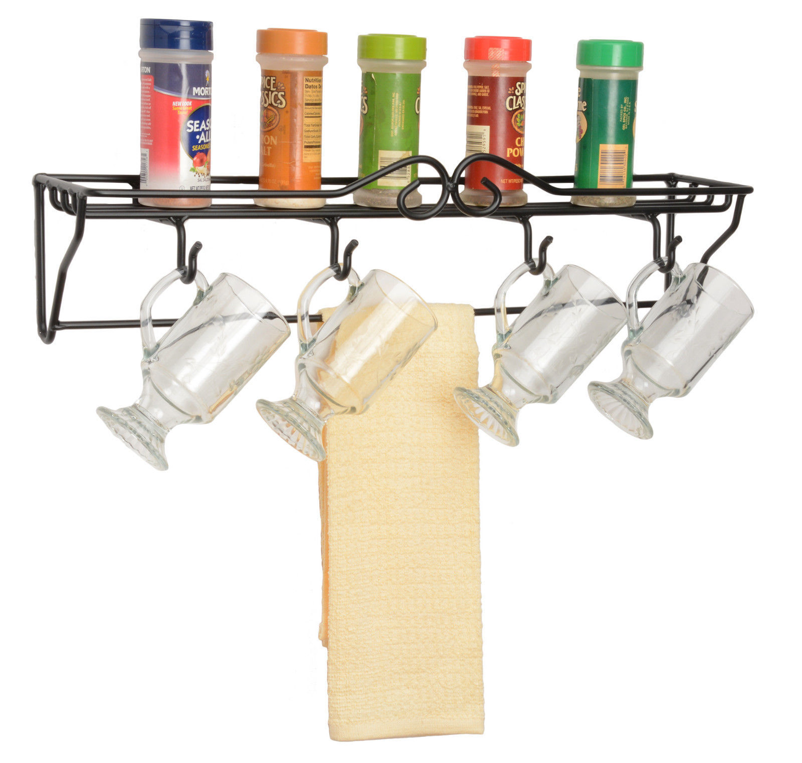 Primary image for 4 MUG SINGLE SHELF RACK - Wrought Iron Wall Coffee Cup Towel Holder USA Amish