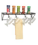 4 MUG SINGLE SHELF RACK - Wrought Iron Wall Coffee Cup Towel Holder USA ... - $39.59