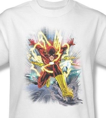 The Flash T-shirt white cotton graphic printed tee super hero DC comics JLA331