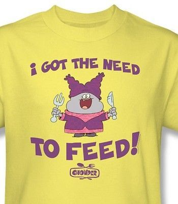 Chowder Need to Feed T shirt cartoon network cotton graphic yellow tee  cn227