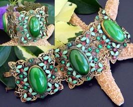 Vintage Bracelet Art Nouveau Deco Cabochon Enamel Filigree Ornate Wide - $89.95