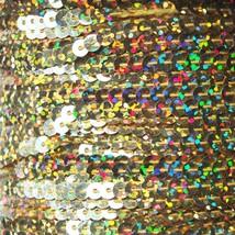 Sequin Stitched Trim 4mm ~ Ultra Gold Hologram Reflective Rainbow Metallic - $10.97