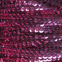 Deep Candy Pink Metallic 5mm cup Sequin Trim Flat Stitched Strung by yard 15' - $8.95