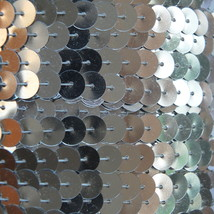Sequin Trim Silver Metallic 8mm flat strung by the yard. Made in USA. - $9.97