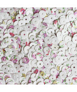 5mm Flat Round Loose SEQUINS ~ Spring Flowers Petite Fleur Floral Print on White - $9.97