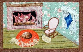 What the Cat Did!: Quilted Art Wall Hanging - $365.00