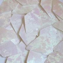 White Sequin Long Diamond Rainbow Iris Swirl Texture 1.75 inch Couture Paillette - $14.97