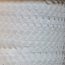 Sequin Trim Opaque Shiny White 8mm flat strung by the yard. Made in USA. - $9.97