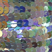 Sequin Trim Silver Rainbow Metallic 8mm flat strung by the yard. Made in USA. - $10.97