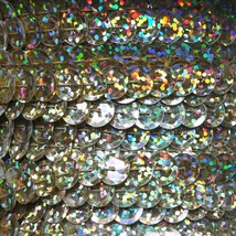 Sequin Trim Gold Hologram  8mm Cup Facet strung by the yard. Made in USA. - $9.97