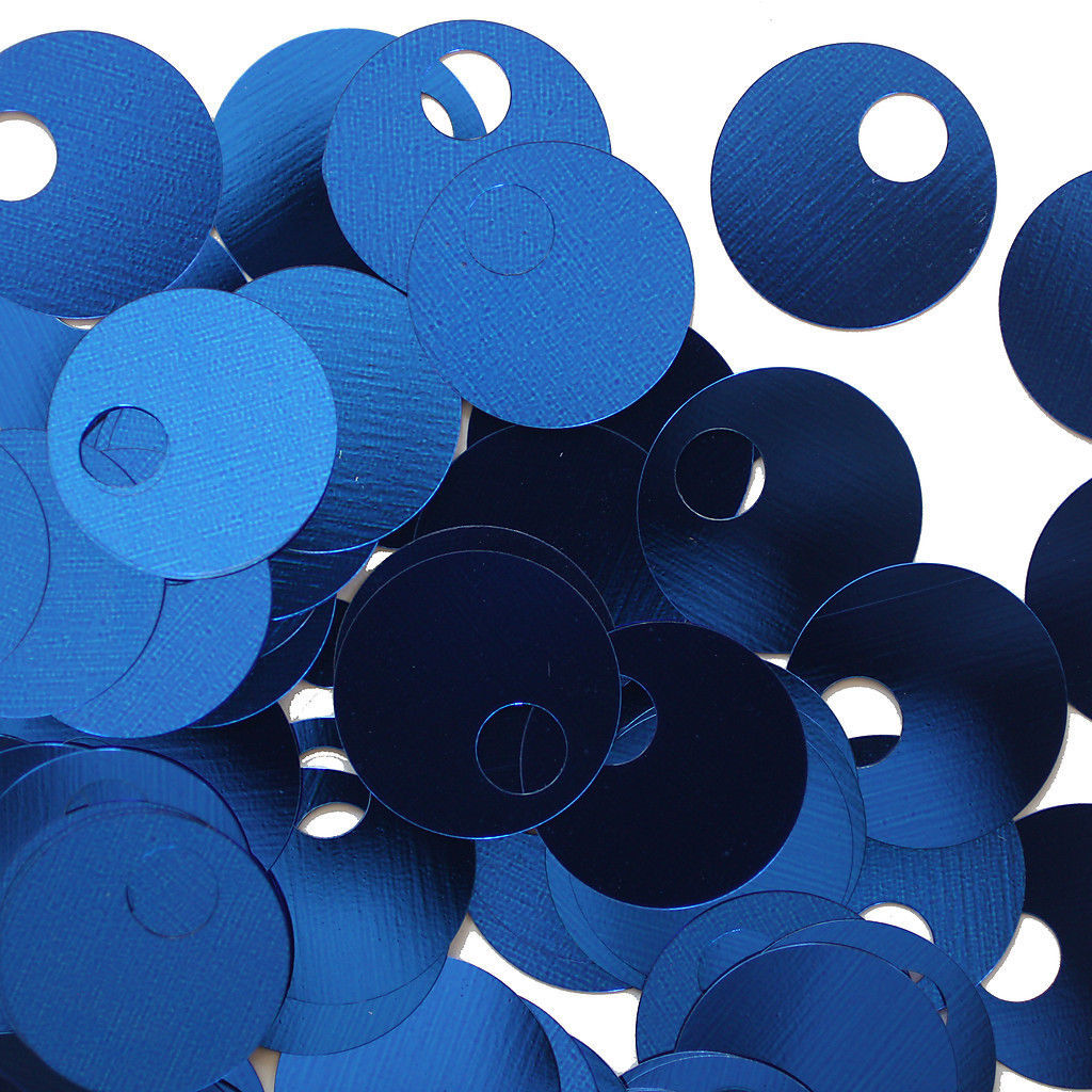 20mm ROUND SEQUIN PAILLETTES ~ ROYAL BLUE METALLIC ~Flat Sequin Disc Made in USA
