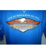 Harley-Davidson Blue Pullover Shirt Large Embroidered & Graphic NWOT - $25.00