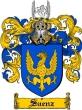 Saenz Family Crest / Coat of Arms JPG or PDF Image Download - $6.99