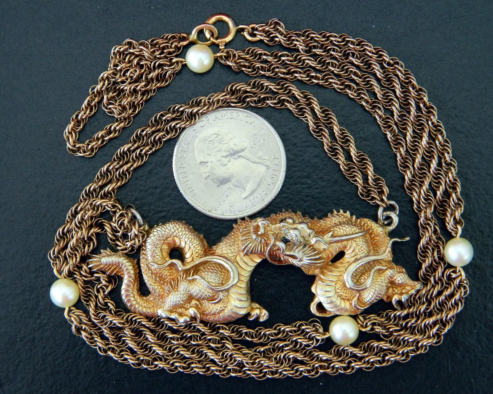 Vintage Alva Museum Replicas Gold Dragon Pendant Pearl Chain Necklace