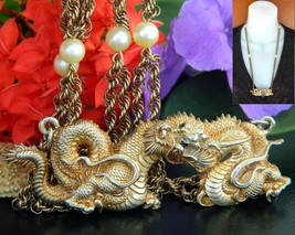 Vintage Alva Museum Replicas Gold Dragon Pendant Pearl Chain Necklace - $44.95