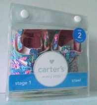 Carter's Baby Girl Shoe Bia Leather Floral Mary Jane 2 Stage 1 Crawl NIP Velcro - $34.64