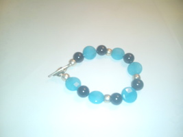 Artisan Crafted Genuine Blue Chalcedony & Black Onyx Gemstone Bracelet - $19.99
