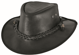 Bullhide Cessnock Leather Western Hat Aussie Crown Leather Rope Band Black  - $55.00