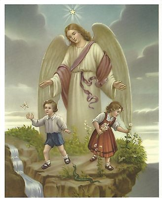 "Catholic Print Picture Large GUARDIAN ANGEL w/ boy and girl 8x10"" ready to frame"