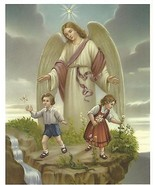 "Catholic Print Picture Large GUARDIAN ANGEL w/ boy and girl 8x10"" ready ... - $14.01"
