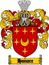 Honore Family Crest / Coat of Arms JPG or PDF Image Download - $6.99