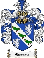 Primary image for Curson Family Crest / Coat of Arms JPG or PDF Image Download