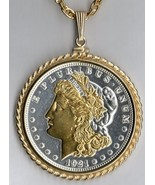 U.S...Morgan Silver dollar Gold on Silver coin pendant & 14k necklace - $278.00