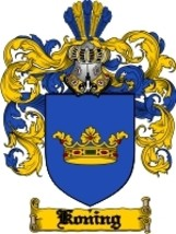 Koning Family Crest / Coat of Arms JPG or PDF Image Download - $6.99