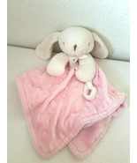 Blankets And Beyond Bunny Rabbit Security Blanket Lovey White Pink Bumpy  - $24.73