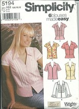 Simplicity 5194HH Sewing Pattern Misses 6 Easy Tops Size 6-12 - $9.31