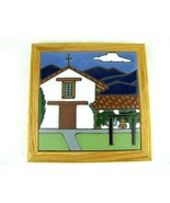 San Francisco Solano Mission Ceramic Tile Trivet by Pacific Blue Hand Pa... - $34.65