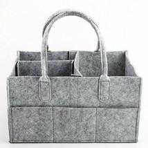 Grey Felt Baby Diaper Caddy Nursery Storage Bin Wipes Bag Nappy Organize... - $27.80
