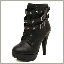 Black Rivet Buckle Strap Gothic Lace Up Ankle High Heel Platform Stiletto Boots image 1