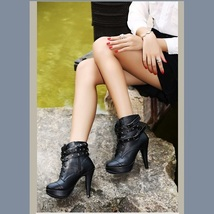 Black Rivet Buckle Strap Gothic Lace Up Ankle High Heel Platform Stiletto Boots image 3