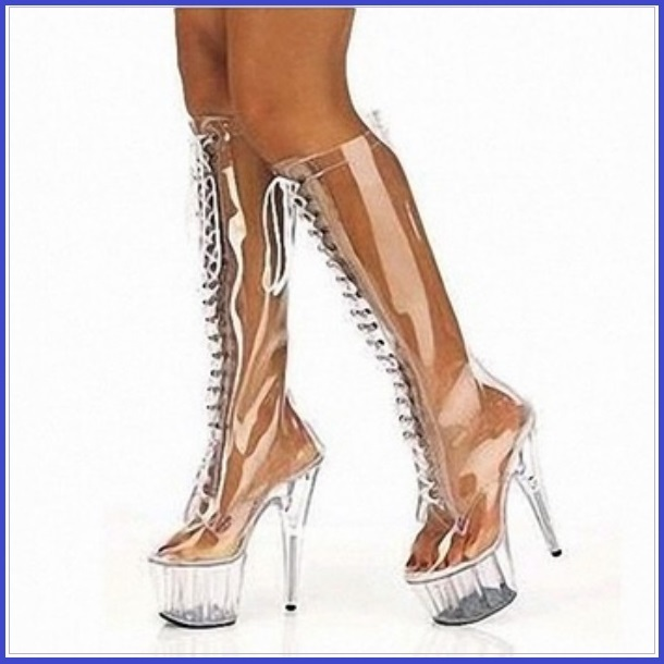 Tall Clear Wet Look Acrylic Front Lace Up Stiletto Platform Fashion Heel Boots