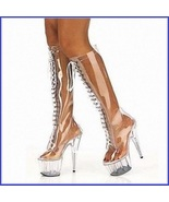 Tall Clear Wet Look Acrylic Front Lace Up Stiletto Platform Fashion Heel... - $259.95