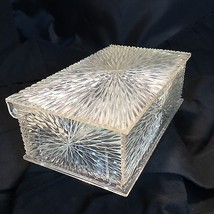 Celebrity Inc Clear Lucite Carved Starburst Jewelry Vanity Box Hollywood... - $24.26