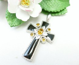 Citrine Faceted Gemstone and Black Enamel Sterling Silver Cross Pendant - $69.00