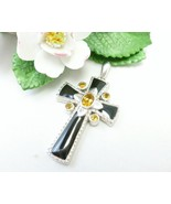 Citrine Faceted Gemstone and Black Enamel Sterling Silver Cross Pendant - $49.00