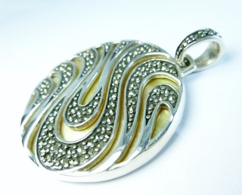 Sterling Pave Marcasite Gemstones and Gold Mother Of Pearl Large Round Pendant