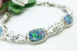 "Sterling Australian Square Opal Doublet Mosaic Bracelet 7.25"" - $79.00"