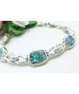 Sterling Australian Square Opal Doublet Mosaic ... - $86.00
