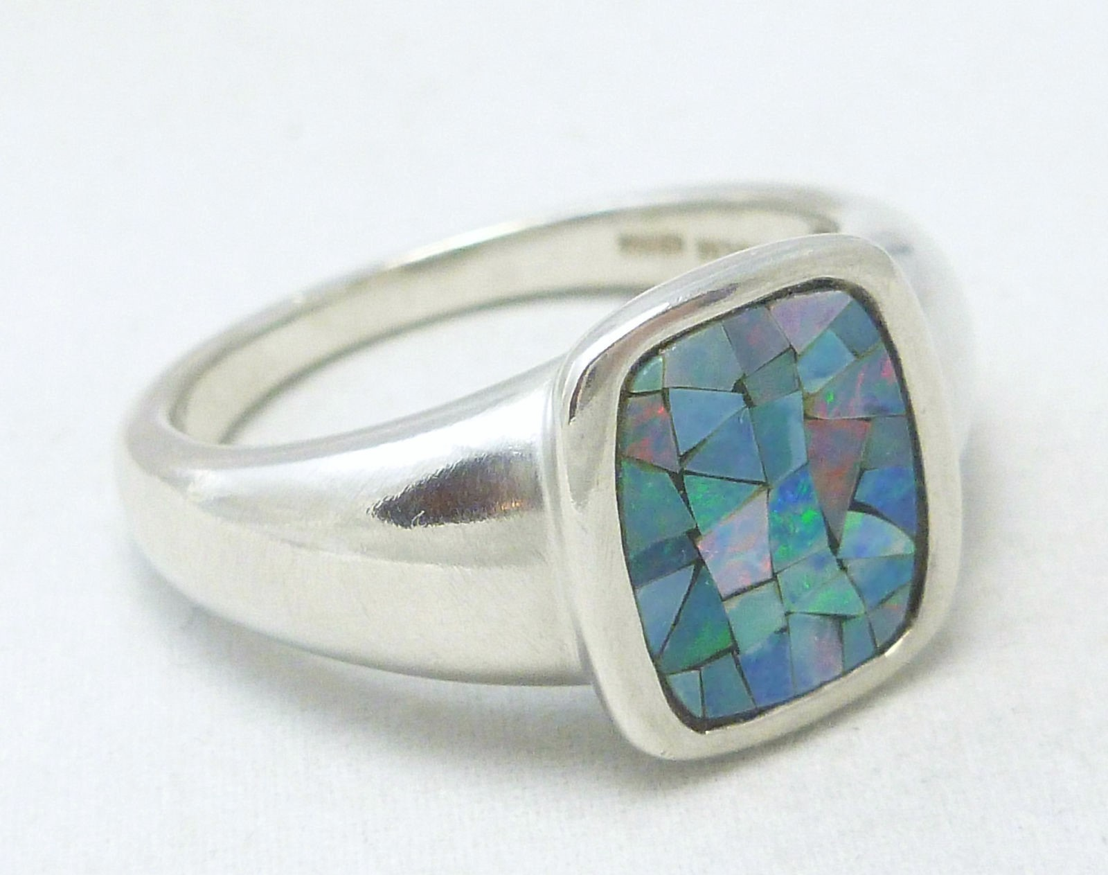 Sterling Australian Opal Mosaic Doublet Cushion Square Ring Size 7