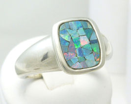 Sterling Australian Opal Mosaic Doublet Cushion Square Ring Size 7 - $49.00