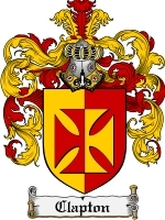 Primary image for Clapton Family Crest / Coat of Arms JPG or PDF Image Download