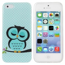 Sleeping Owl Printed TPU Hard Back Case Cover For iPhone 5 5S - $5.76