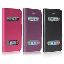 Caller ID Front View Leather Magnetic Stand Holder Case For iPhone 5 - $6.80
